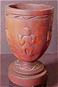 Carved Wooden Cup With Relief Figures