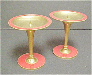 Pair Thiland Gold & Red Colored Candleholders