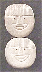 Eskimo Carved Bone Faces With Inlaid Eyes