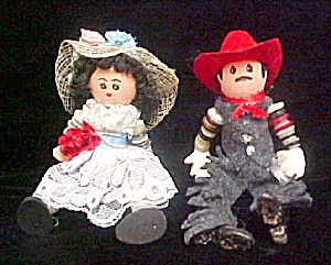 Wood/button Western Couple - Dolls