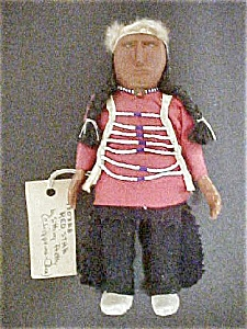 Native American Wood Doll - Red Star