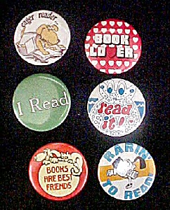Set 6 Book Related Pin Backs - Reading
