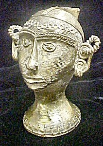 Bastar Asian Indian Metal Sculpture Of Head