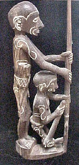 Carved Asmat Ancestor Figure W/daughter