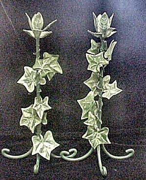 Pair Metal Ivy Decorated Candle Sticks
