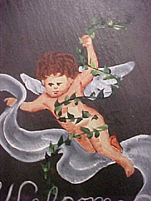 Hand Painted Slate Cherub Welcome Slab