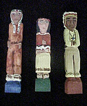 Carved And Painted Native American Figures