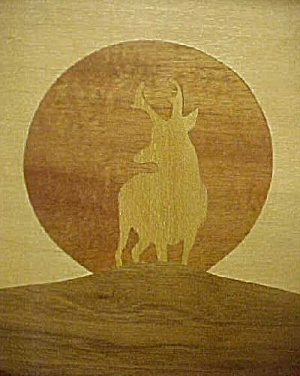 Western Elk Art - Inlaid Wood Framed