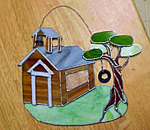 School Yard Folk Art Design Wall Hanging