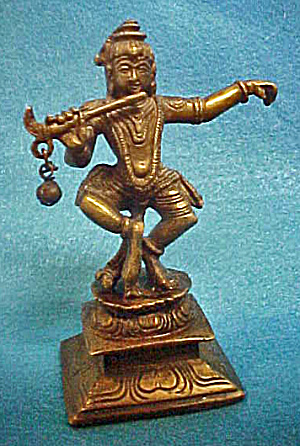 Indian Hindu Deity Krishna Playing Flute