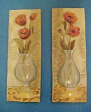 Pair Vases W/ Flowers