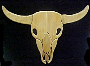 Wooden Carved Steer Scull