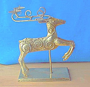 Golden Reindeer Candle Holder