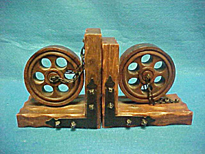 Medieval Wooden Wheel/chains Bookends