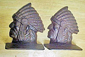 Indian Head Bookends - Cast Iron