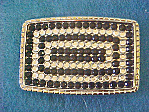 Black & Clear Crystal Belt Buckle
