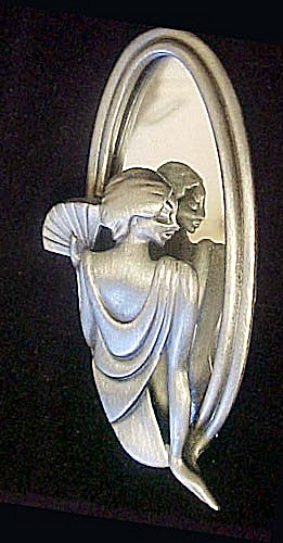 Art Deco Lady Looking In Mirror Pin/brooch