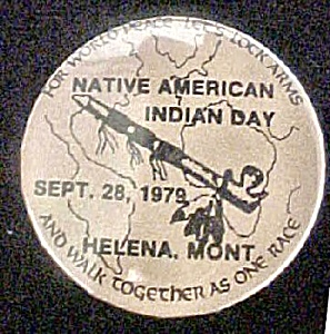 Native American Indian Day - 1979 Pin-back