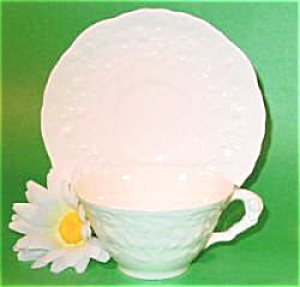 Pope Gosser White Rose Point Cup And Saucer - Imperfect