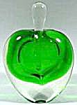 Perfume Bottle - Green Glass Heart Paperweight