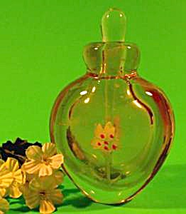 Glass Paperweight Perfume Bottle - Amber