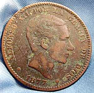 Coin - Spain 10 Centimos - 1877 Bronze - Rare