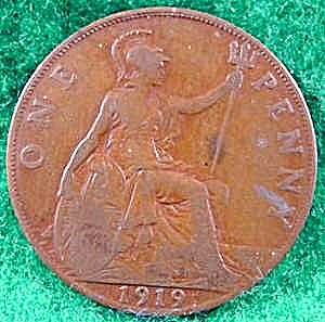 Great Britain 1 Penny Coin - 1919