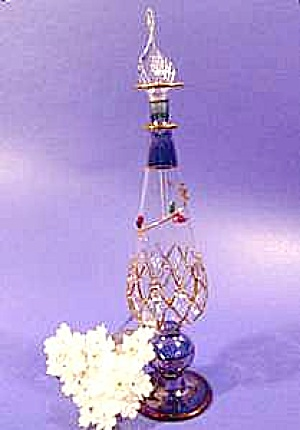 Egyptian Glass Scent Perfume Bottle - Gold Trim