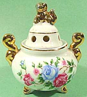 Oriental Incense Burner Censer - Roses & Fu Dogs