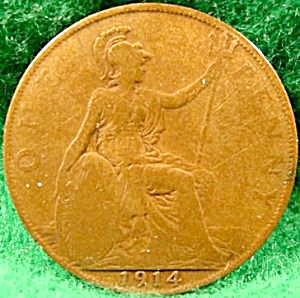 Great Britain One Penny Cent Coin - 1914