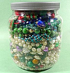 Large Jar Of Craft Jewelry - Some Wearable - 2.5 Pounds