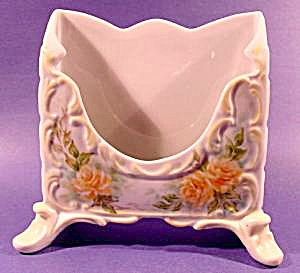 Hand Painted Porcelain Letter Holder - Yellow Rose - 19