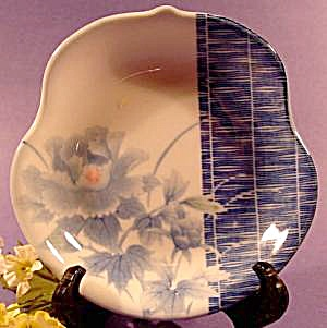 Oriental Dish - Free Form Blue And White Floral