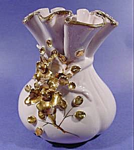 Lefton Pink Vase - Applied Floral - Gold Trim - Signed