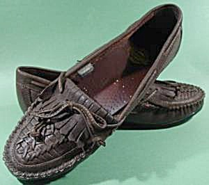 Brown Leather Moccasin Loafer Shoes - Size 10w