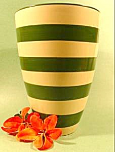 Vase - Cream With Green Stripes