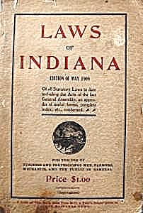 Book - Laws Of Indiana - 1909 Edition