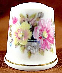 Pink & Yellow Floral Thimble - Parbus - W. Germany