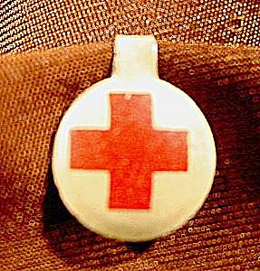 Red Cross Lapel Pin Button - Vintage