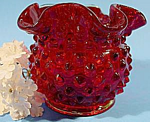 Red Hobnail Glass Vase - Fenton