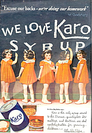 1937 Karo Syrup Dionne Quintuplets Advertisement