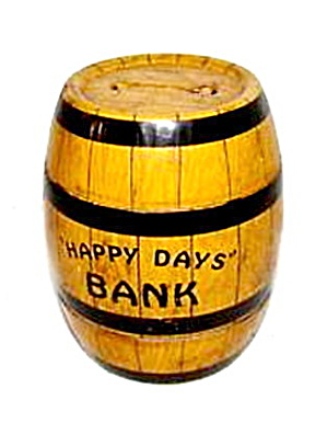 "J Chein ""happy Days"" Barrel Coin Metal Bank"