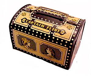 1950s 'captain Flint' Treasure Chest Metal Bank