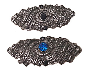 2 Vintage Marcasite With Stones Brooches/pins