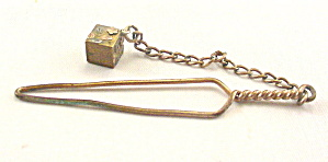 Antique Gold Metal Sewing Button Hook With Dangle