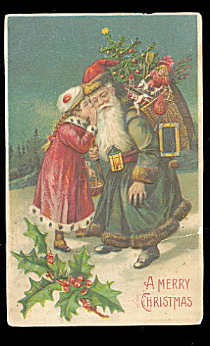 Blue Coat Santa Claus With Girl 1907 Postcard