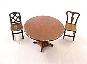 1920s Tootsietoy Dollhouse Brown Table & Chairs