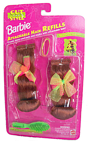 1994 Barbie Attachable Hair Refills - Auburn Mip