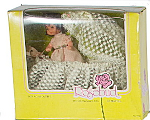 1976 Mattel Rosebud Pink Heather Rose Doll & Cradle Set