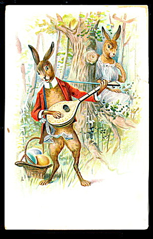 1908 Rabbits Playing Ukele Or Guitar Easter Postcard